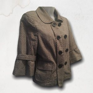 Brown & Grey 3/4 Sleeves Double Breasted Jacket